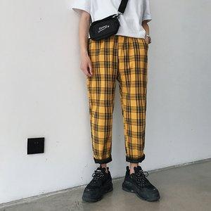 Pantalons Hommes Streetwear Plaid Pantalons simple droites Harem Homme Hip Hop coréenne Pantalons piste Taille Plus