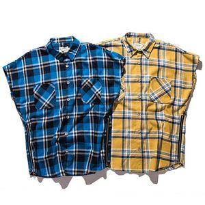 Hombres de la camisa de tendencia de Hip Hop Camisa a cuadros de la vendimia de la cremallera de algodón sin mangas de los hombres de mangas de los hombres de 2020