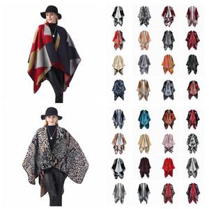 Mujeres Bufanda Cardigan 130 * 150cm Patchwork Poncho Cape Spring y otoño Manta caliente Cloak Wrap Wrap Outwear Abrigo LJJA3180