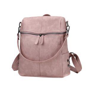 ISHOWTIENDA Casual de gran capacidad bolsos de hombro Vintage mujer mochila nobuck cuero Pu Mochilas escolares para adolescentes # R5