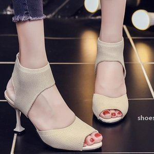 Spring 2020 new flying woven stretch cloth net red sandals fish mouth shoes wild fine heeled sandals wholesale stiletto Solid color Set foot