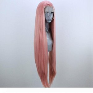 Peach Pink Long Natural Straight Hand Tied Synthetic 13*3 Lace Front Wig Glueless Heat Resistant Fiber Hair Side Parting for Women