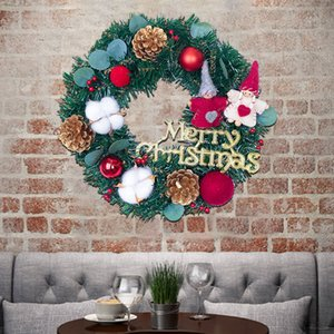 Christmas Decorations Window Props Shopping Mall Scene Layout Rattan Wreath Artificial Flowers Bedroom Wall Art Home Party Decor
