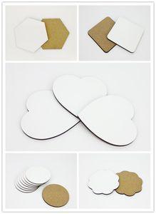 Fai da te sublimazione vuoto Coaster in legno coibentato tazza sughero stuoia di promozione pubblicitaria MDF regalo semipronti tappetini tazza termica per il regalo A07