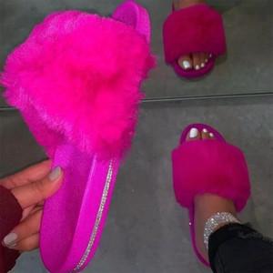 Sagace piel Zapatillas piel de las mujeres Diapositivas Mujer Inicio peludo sandalias planas de los zapatos de señora linda mullida Casa Mujer 2020 Nuevo