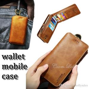 Universal de la PU billetera de cuero función de la caja de tarjeta de múltiples ranuras 2 en 1 cubierta del tirón del folio para el iPhone 6 6s 7 Plus