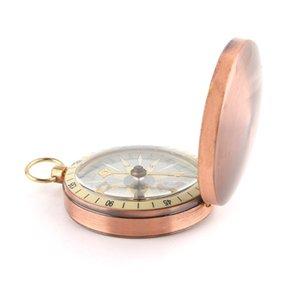 Cobre Vintage Virar Metal Cover Pocket Watch Compass Caminhadas Camping Boating Náutico marinhos Survival Compass Survival Bracelets