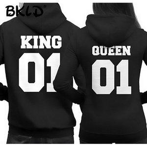 BKLD Fashion King Queen Hoodie Couple Pullover Sweatshirt Unisex Hoodies Causal Long Sleeve Crewneck Love Hoodies Men Women Y200706