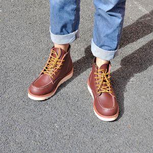 Heel Boots primavera rosso Stivaletti uomo all'aperto lavoro Martin del cowboy del motociclo maschio Lace-up Y875 uomini del cuoio di vendita autentiche caldi di