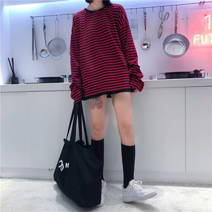 New Vintage Fashion Basic Loose Casual Striped All Match Simple Long Sleeve Female T-shirts