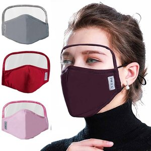 DHL Shipping Washable Cotton Maks Protective Face Shield with Transparent Eye Shield Isolation Mask Anti-fog Oil Face Mask 5 Colors X238FZ