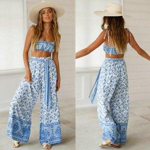 Las mujeres 2Pcs Trajes sin mangas de la impresión floral de la cosecha pantalones largos Top Conjunto de vacaciones de verano Mono Ropa Casual