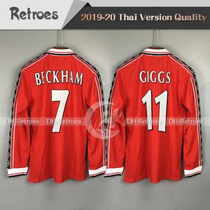 98 99 Retro Versão manga longa Jerseys camisa de futebol # 7 Beckham # 11 Giggs SCHOLES RONALDO 1998 1999 Manchester Retro camisa de futebol