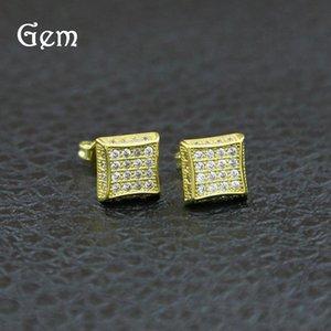 18K Gold Plated Hiphop Earrings For Mens Full Diamond Hip Hop Ear Studs Cool Hip-hop Pierced Earring Jewelry