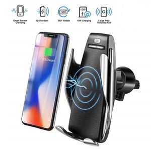 S5 자동 센서 자동차 무선 충전기 아이폰 XS 최대 XR X 삼성 S10 S9 지능형 적외선 빠른 무선 충전 자동차 전화 홀더