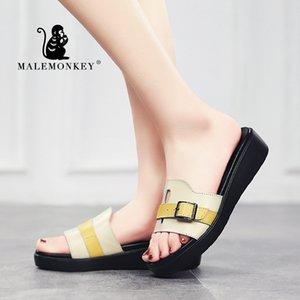 MALE MONKEY 1160 Мода дамы Квартиры черный Квартиры Тапочки 2020 Летняя мода Открытый пляж Тапочки женские Женская обувь