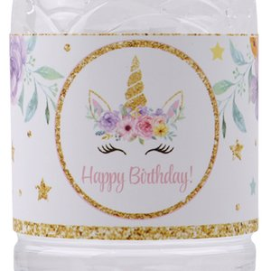 24 stücke einhorn flasche aufkleber baby shower einhorn party dekoration geburtstagsfeier liefert einhorn flasche label aufkleber