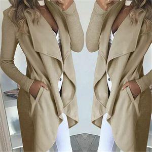 2019 Frauen-Dame-Mantel-lange Hülsen-Normal Wasserfall Jacke Damen Cardigan Overcoat Pullover Herbst-Winter-Long Tops Plus Size