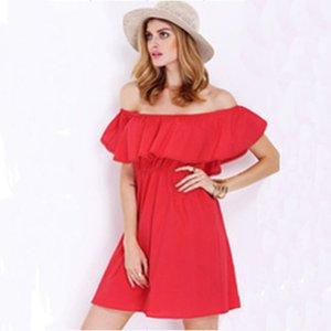 Red Fashion Frauen elegante Weinlese weg von der Schulter Kleid stilvollen sexy slash Hals beiläufige dünne Taille Strand Sommer Sundress vestidos