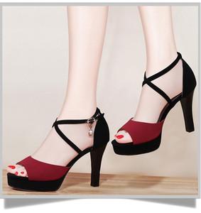 Новая мода Женщины Супер тонкий Высокие каблуки сандалии 9см конструктора сандалии с пряжкой ремень платье Свадебная обувь