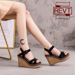 REVT 2020 new style womens High-heeled sandals fashion muffin shoes Thick bottom waterproof platform sandals womens shoes Y200702