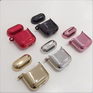 Cubierta de auriculares de lujo para Apple AirPods 2 1 funda Air Pods protección AirPods2 negro chapado en oro piel TPU funda Accesorios