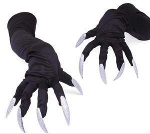 Boys Girls Kids Silver Long Finger Creepy Halloween Ghoul Gloves Hands Monster