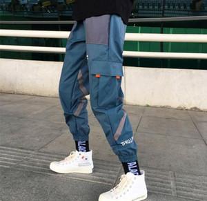 Pantalon de survêtement imprimé couleur bloc patchwork Vintage Mens Hip Hop coupe-vent streetwear pantalon sarouel mâle