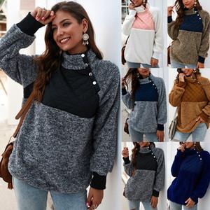 Diseño de lujo abrigos de invierno de ropa de mujer Sherpa remiendo suéteres de lana con capucha para damas femeninas Ropa de las mujeres de la chaqueta del abrigo de pieles