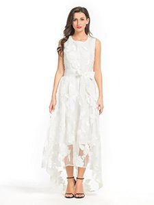 PERSUN Women's White Floral Gauze Panel Multi Layer Sleeveless Wedding Dress