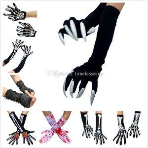 Bunte Halloween Handschuhe kreative Winter warme Punk Gothic Skeleton Halloween Long Short Horror-Schädel-Greifer-Knochen-Handschuhe für Frauen Männer