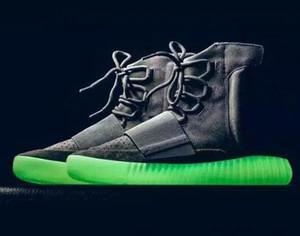 Hot Sale-n impulso Oeste 750 Preto Suede Shoes Shoes Kanye Blackout Light Gray brilham no escuro com caixa