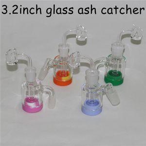 14 mm 18 mm Hombre 45 90 Grado de cristal Ash Catcher con salchichas de cuarzo de contenedores de silicona para el adaptador del colector Reclaim Glass Dab Rigs Glass