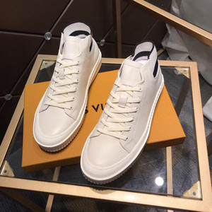 2020 luxury brands casual shoes White leather surface and knitted tail design non-slip bottom Plate-forme Running Shoes