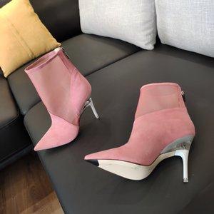 2020 Новый Весна Лето Ботильоны Из Натуральной Кожи Лоскутная Сетка Выдалбливают Обувь Мода Острыми Носами Шпильках Женские Пинетки