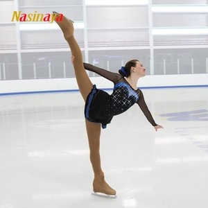 Nasinaya Figure Skating Dress Customized Competition Ice Skating Skating Skate Skills for Girl Women Kids Gymnastics Performance Black Mesh