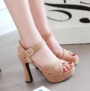 Más el tamaño 32 33 34 35 40 41 42 43 plataforma de la correa talones gruesos zapatos de las mujeres del diseñador de moda de lujo transversales sandalias de tacón alto
