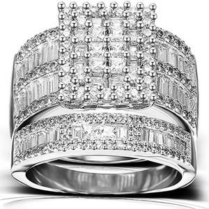 Роскошные Наборы Колец Для Женщин Высокая Четкость S925 Имитация Алмаза Платиновый Акцент Стойкий Для Помолвки Годовщины Свадьбы
