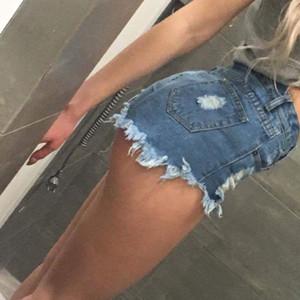 Short déchiré en jean boutonné devant taille haute Shorts femme Hot Jeans Sexy Destructed Y190429