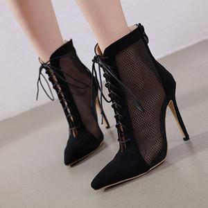 Sıcak Satış-Kadınlar sandal çizmeler Dantel-up parmaklarını yüksek topuklu İlkbahar Yaz kadın kısa ince topuk kısa Boots Kadınlar işaret Mesh
