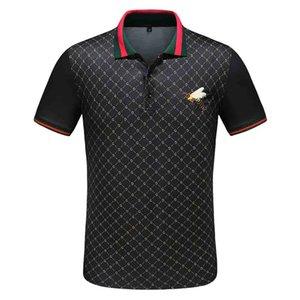 New Mens Printed Polo Shirts aus 100% Baumwolle Kurzarm Stehkragen Male Herren Shirts Luxus-Designer-T-Shirt Mens Designer T
