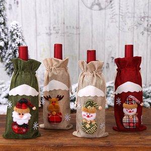 Fontes Bottle Capa de Natal Meias de Santa vinho Noel Bolsas Decoração de Natal Mesa de Refeição Garrafa saco do partido