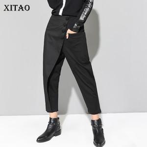 Xitao Black Tide longue Sarouel femmes taille élastique Bouton Casual Modis avant Patchwork Femme Automne 2019 pantalons LJT3926