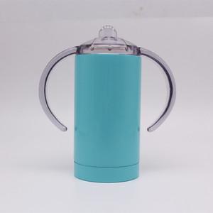 핸들 절연 아기 어리버리 컵 어린이 머그컵 우유 병 텀블러 훈련 컵 아이를 마시는 12온스 스테인레스 스틸 직선시피 컵