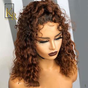 Peruviano Ombre breve ricci Bob 1B / 27 Colored parrucche 13x4 parte anteriore del pizzo dei capelli umani parrucche di Remy 130% Densità Capelli ossigenati Nodi VSBOB