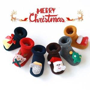 Детские рождественские носки Дети Антипробуксовочная Носок Мультфильм Санта Снеговик Elk куклы рождественские носки Симпатичные зима теплая Главная Walker Носок HHAA958