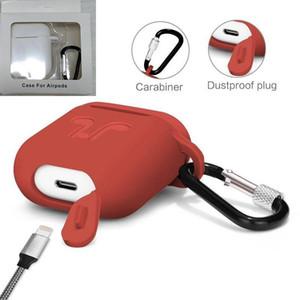 Para Apple Airpods 2 en 1 casos de silicona suave ultra fino de la cubierta del protector AirPod timbaúva Caso anti-caída con gancho caja al por menor