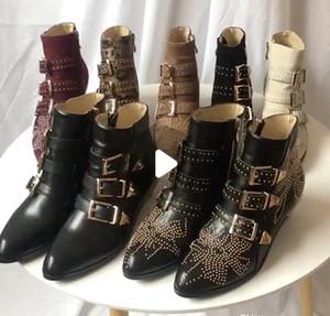 Удар Дизайнерские сапоги Сусанна кожа замша Ботильоны Мартин ботинок женщин Шипованная Кожа Пряжка походные сапоги 10 цветов большой размер с коробкой