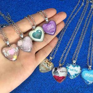 Te amo mamãe colar de vidro forma de coração colares pingentes sempre moda jóias mãe presente de mãe e sandy drop ship