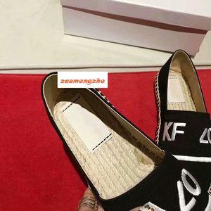 Vente chaude paille mode brodé chaussures tissé lovers pêcheur chaussures tête du tigre